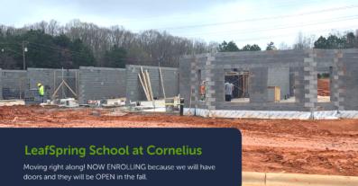 LeafSpring School at Cornelius being built by construction crew.